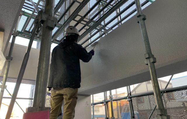 甲府市マンション 外壁塗装・防水工事 外壁塗装上塗り