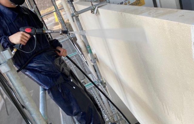 甲府市マンション 外壁塗装・防水工事 洗浄作業