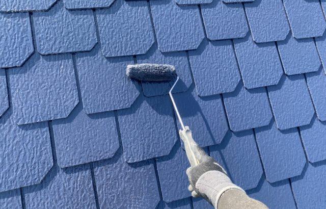 山梨県甲斐市O様邸、外壁・屋根塗装上塗り