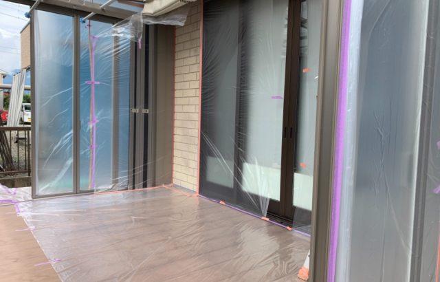 南アルプス市A様邸、外壁塗装工事 養生作業