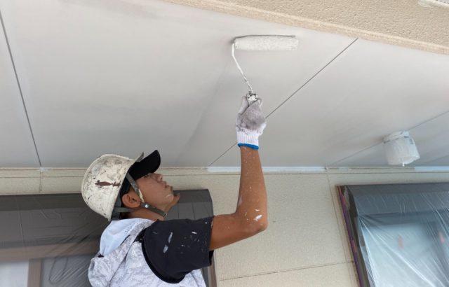 南アルプス市A様邸、外壁塗装工事 軒天塗装
